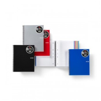 CUADERNO MICROP A4 150H 70G C/5 T/PP NEGRO NOTE BOOK 6 MIQUELRIUS