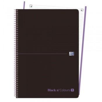 CUADERNO MICROPERFORADO EBOOK 1 MICROP A4+ 80H C/5 T.PLASTICO NG BLACK'N COLORS MALVA OXFORD