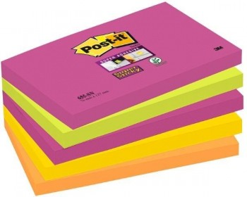 NOTAS ADHESIVAS POST-IT  SUPERSTICKY 5 BLOCS NEON CAPE TOWN 90H 76x127MM (70005280378)