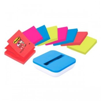 DISPENSADOR POST-IT  AZUL VAL 8 BLOCS Z-NOTES SUPERSTICKY 76X76MM LUGARES (HK100010204)