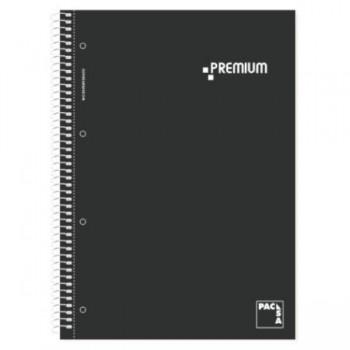 CUADERNO MICROP PREMIUM A4 160H 70GR C/5 TAPA PLASTIFICADA NEGRO PACSA