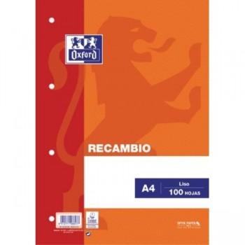 RECAMBIO A4 100H. LISO NRG NARANJA 4T OXFORD