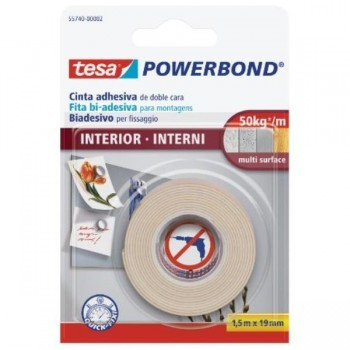 CINTA ADHESIVA DOBLE CARA 1,5M X 19MM POWERBOND INTERIOR BLISTER TESA