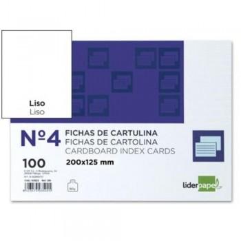 FICHAS LISA Nº4 125X200MM PAQUETE 100U. LIDERPAPEL