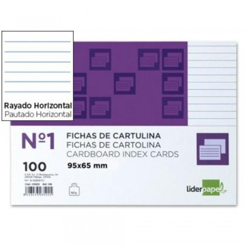 FICHAS RAYADA Nº1 65X95MM PAQUETE 100U. LIDERPAPEL