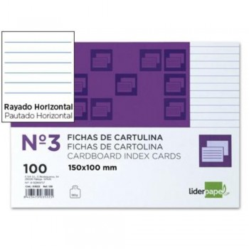 FICHAS RAYADA Nº3 100X150MM PAQUETE 100U. LIDERPAPEL