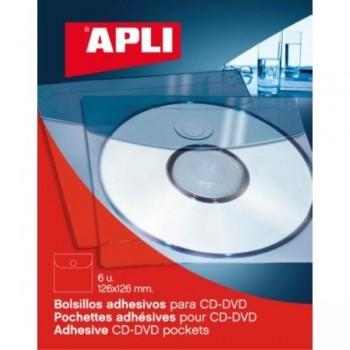 BOLSILLO ADHESIVO CD ROM 126x126 BLISTER 6U. APLI