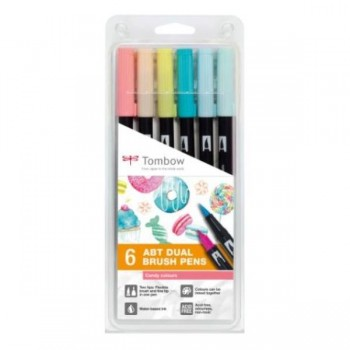 ROTULADORES DUAL BRUSH ESTUCHE 6 UDS DOBLE PUNTA PINCEL COL.CANDY TOMBOW
