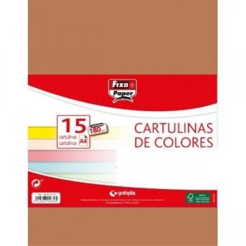 CARTULINAS PACK 15 H 180GR A4 MARRON GRAFOPLAS