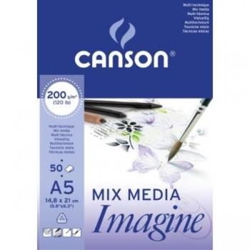 BLOC DIBUJO ENCOLADO A5 50H CANSON IMAGINE FINO 200G