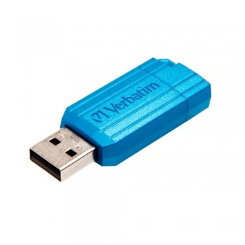 USB DRIVE 2.0 16GB HI-SPEED STORE'N'GO PINSTRIPE RETRÁCTIL COLOR AZUL CARIBEÑO VERBATIM