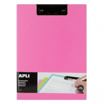 CLIPBOARD PP FOAM + SOLAPA COLOR ROSA A4 APLI