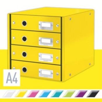 BUCS DE 4 CAJONES CLICK & STORE (290X283X360MM), AMARILLO