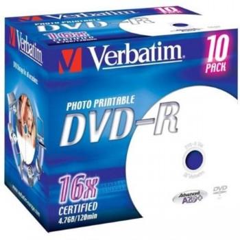 DVD-R VERBATIM 4.7Gb 16x Imprimible (Pack 10 ud)